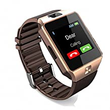 Bluetooth Smart Watch with Camera, Amazingforless DZ09 Smartwatch for Android Smartphones (Gold)