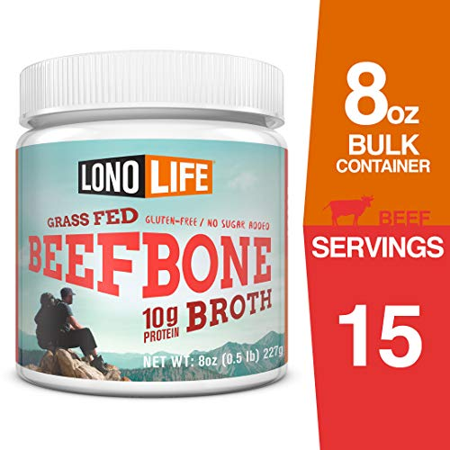 Bone Bouillon - LonoLife Grass-Fed Beef Bone Broth Powder with 10g Protein, 8-Ounce Bulk Container