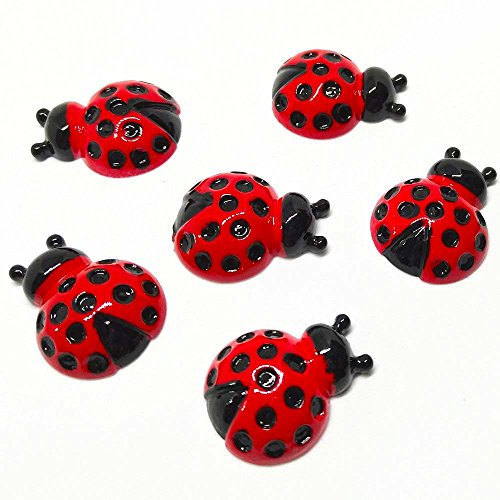 Qingxi Charm 20pcs Ladybug Ladybird Resin Flatback Buttons for Hairband Making Phonecover Album DIY Scrapbooking Embellishments Decoration (Ladybug 20pcs)