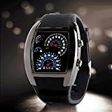 New Fashion Mens RPM Turbo Blue Flash LED Sports WristWatch Car Speed Meter Dial Watch Wrist Watch