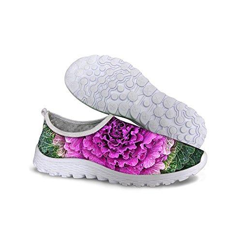 For U Design Komfortable Super Lette Mesh Kvinners Atletisk Joggesko Pink-grønne
