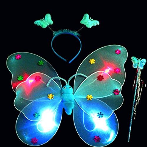Ecurson 3pcs/Set Girls Led Flashing Light Fairy Butterfly Wing Wand Headband Costume Toy (Blue) (Fairy Bread Costume)