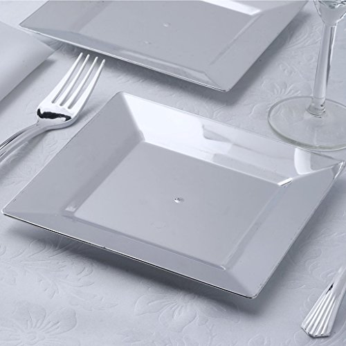 Discount BalsaCircle 24 pcs 6.5-Inch Silver Plastic Square Plates - Disposable Wedding Party Catering Tableware for cheap