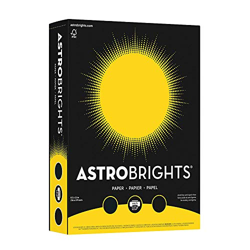 Wausau Astrobrights Premium Paper, 65 lb Cover, 8.5 x 11 Inches, Solar Yellow, 50 Sheets (22731)