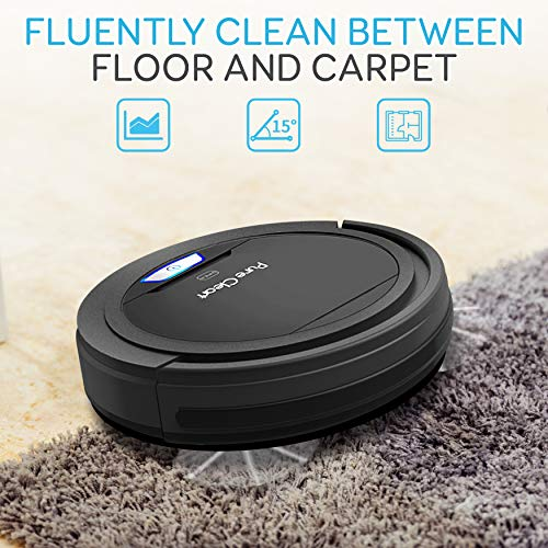 SereneLife Robot Automatic Vacuum Cleaner - Upgraded Lithium Battery 90 Min Run Time - Bot Self Detects Stairs Pet Hair Allergies Friendly Home Cleaning for Carpet Hardwood Floor - PUCRC26B