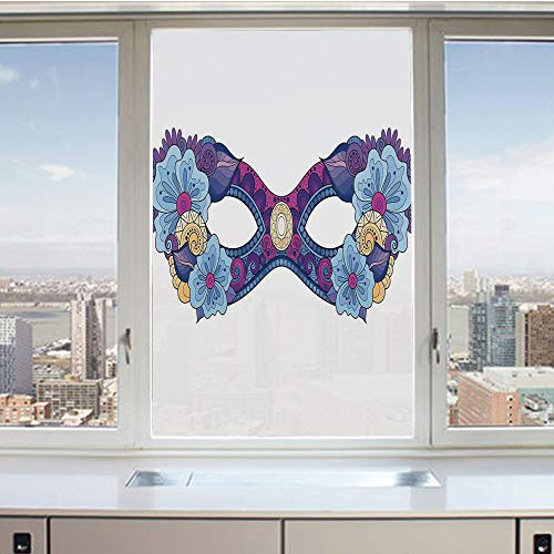 (3D Decorative Privacy Window Films,Colored Carnival Mask with Flowers for Masked Ball Celebration,No-Glue Self Static Cling Glass Film for Home Bedroom Bathroom Kitchen Office 24x36 Inch)