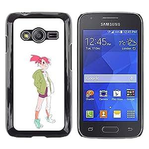 Be Good Phone Accessory // Dura Cáscara cubierta Protectora Caso Carcasa Funda de Protección para Samsung Galaxy Ace 4 G313 SM-G313F // Sporty Fashion Pink Hair Girl Drawing Art Styl