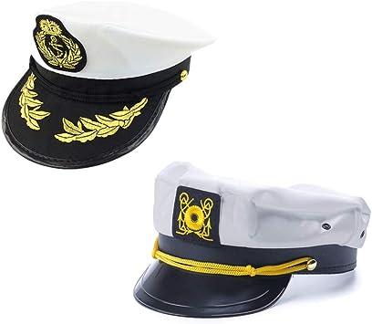 ISKYBOB 2 Piezas Sombreros Bordados del Capitán Disfraz Marinero ...