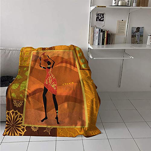 Maisi Digital Printing Blanket, Frame with Natural Autumn Elements Native Girl with Vase Exotic Zulu Print, Print Image Thicken Blanket 62x60 Inch Multicolor