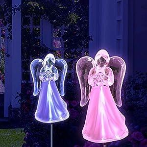 Solar Powered Angel w/Frosted Skirt Garden Stake Landscape Color Change Lights (Set of 2)