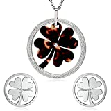 AnaZoz Women Jewelry, Simple Clover Cubic Zirconia Silver Dark Red Earring Necklace Stainless Steel Womens Jewelry Sets