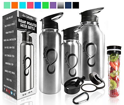 Live Infinitely Double Walled Vacuum Insulated Water Bottles –30, 40 or 64oz 18/8 Food Safe Stainless Steel- Includes Flip Top & Wide Mouth Lid, Removable Fruit Infusion Rod (Stainless Steel, 30)