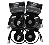 XSPRO XSPDMX3P5 3 Pin DMX DJ Light Cable 2' - 4 PAK