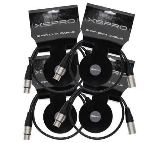 XSPRO XSPDMX3P5 3 Pin DMX DJ Light Cable 2' - 4 PAK by XSPRO