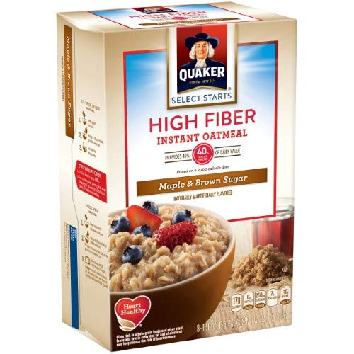 Quaker; Select Starts High Fiber Maple & Brown Sugar Instant Oatmeal, 8 Count, 1.58 Oz. Packets (Pack of 16)