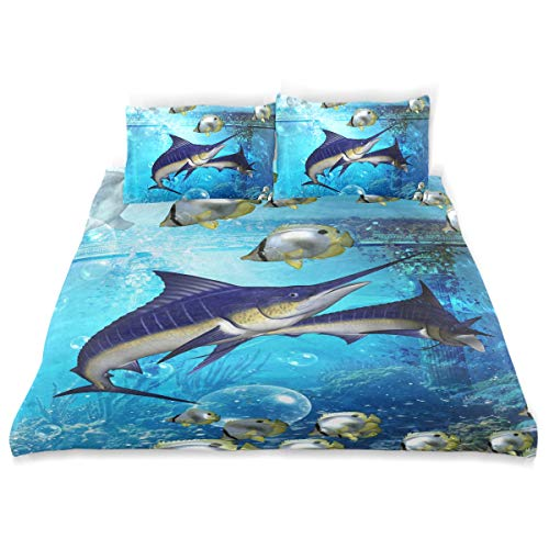 VAMIX Duvet Cover Set Underwater Marlins Butterfly Fish Decorative 3 Piece Bedding Set with 2 Pillow Shams Soft Bedding Set with Zipper Closure