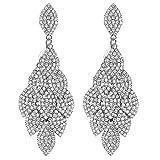 mecresh Leaf Laminated Wedding Dangle Earrings for Women or Bridesmaids Bling Earring, Earrings for Girl or Bride
