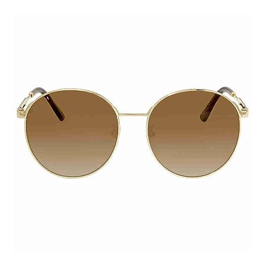 Gucci Damen Sonnenbrille GG0206SK 005, Gold (5/Bluee), 58