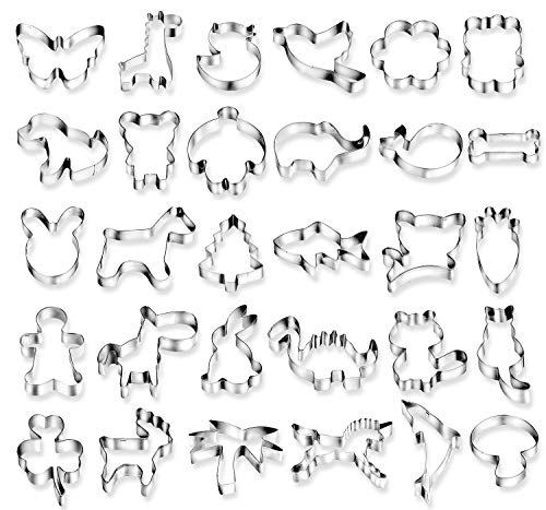 Animal Cookie Cutter (Joyoldelf 30 pcs Cartoon Cookie Cutters Biscuit Mould for DIY Baking Cake Fondant Sugarcraft Pastry Bakeware Decoration)