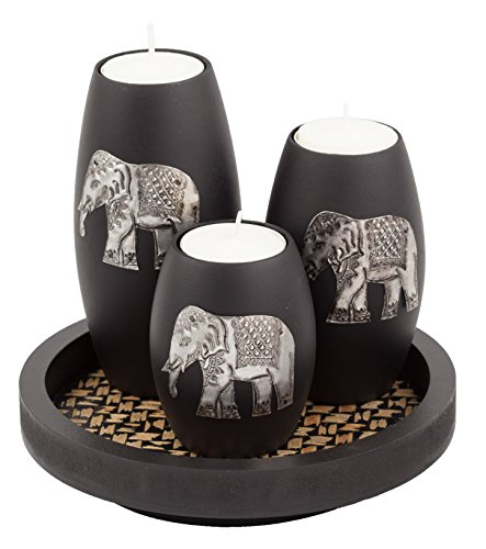 Antique Elephant - IYARA CRAFT's 3 Wooden Candle Holders with Candle Tray – Decorative Candle Holders with Inlaid Aluminium Antique Elephant – Intricate Details – Matte Wood Finish – Ideal for Modern & Rustic Settings