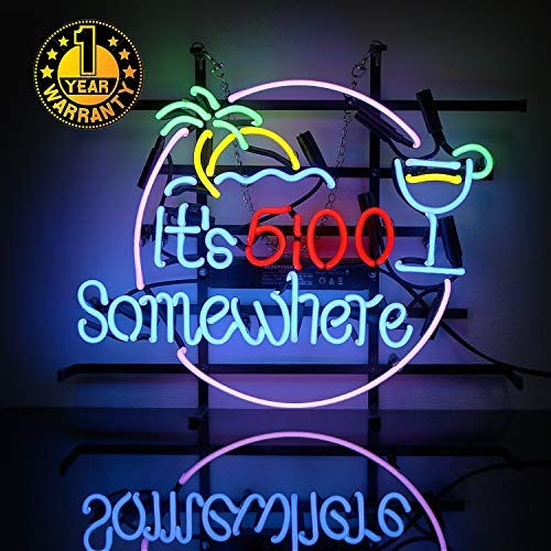 Neon Signs It's 5:00 Somewhere Neon Light Sign Led Neon Lamp, Wall Sign Art Decorative Signs Lights, Neon Words for Home Bedroom Room Decor Bar Beer Office for Party Holiday Wedding Decoration Sign