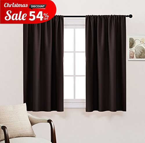 Bedroom Blackout Curtains Draperies Panels - Home Fashion Solid Rod Pocket Top Curtain / Panels / Drapes by PONY DANCE,42