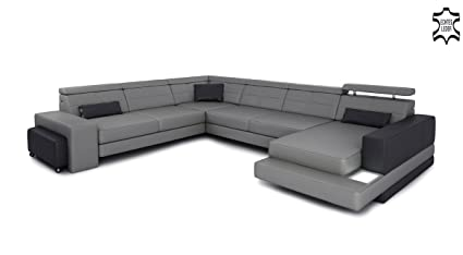 XXL salón Paisaje piel sofá gris/negro Wohnen-Luxus - Sofá ...