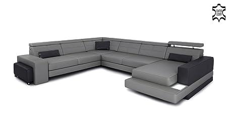Xxl Wohnlandschaft Ledersofa Grau Schwarz Leder Eck Sofa Couch