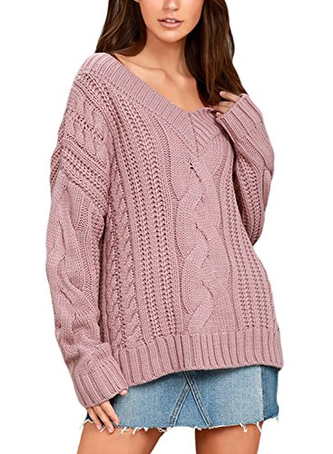Sidefeel Women Casual Loose Fit Cable Knit V Neck Pullover Sweater Outwear Small Pink ()