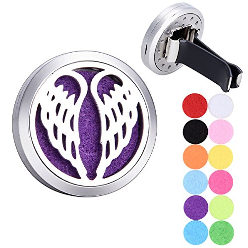 Tornado Angel Wings Car Air Freshener Aromatherapy Essential Oil Diffuser 316 Stainless Steel Hollow Locket with Vent Clip 12 Refill Pads