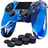 YoRHa Silicone Cover Skin Case for Sony PS4/slim/Pro controller x 1(camouflage blue) With Pro thumb grips x 8 For Sale