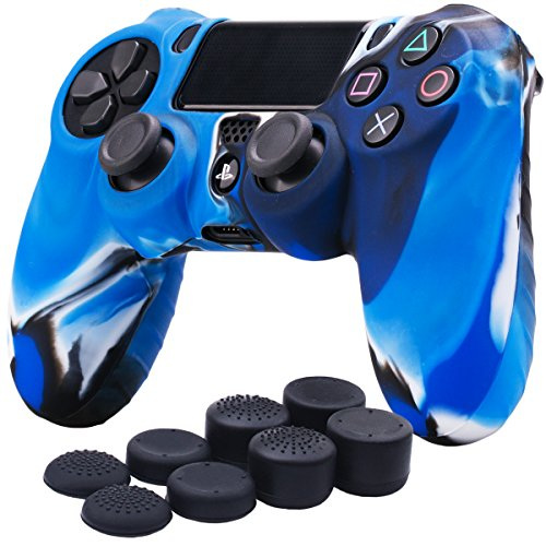 YoRHa Silicone Cover Skin Case for Sony PS4/slim/Pro controller x 1(camouflage blue) With Pro thumb grips x 8