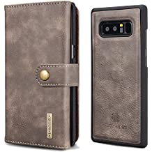 XRPow Galaxy Note 8 Magnetic Detachable Wallet Case Premium Removable Back Cover Slim Leather Folio Wallet 15 Card Slots Holder Case for Samsung Galaxy Note 8 Gray