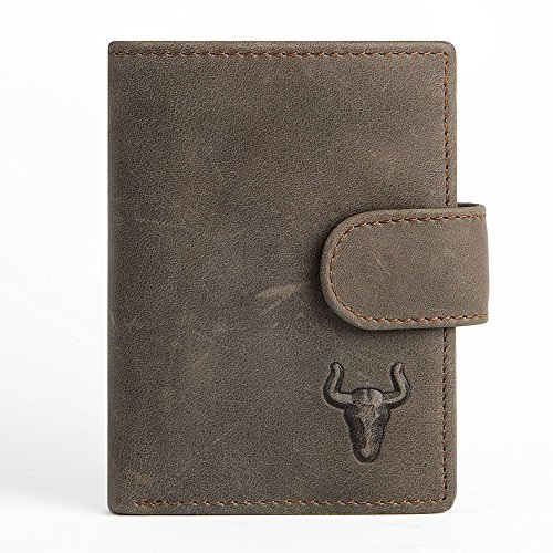 Buffalo Credit Card Bills (Retro Bifold Genuine Crazy Horse Leather Hard Wallet for Credit Cards)