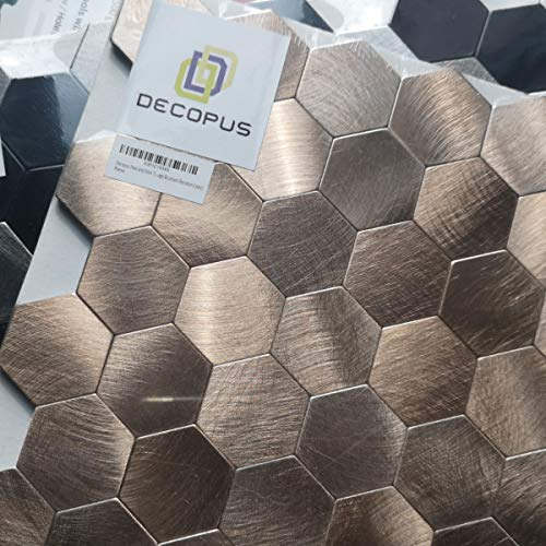 Decopus Peel and Stick Tiles (Sample ONLY) Honey Comb Shape (Sample 1pc Copper or Silver/Black/Grey Color) for Kitchen backsplash, Wall Accent -
