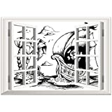 SCOCICI Peel and Stick Fabric Illusion 3D Wall Decal Photo Sticker/Pirate,Drawing of Palm Trees and Sailboat Danger Sign Flag Antique Vessel Treasure Island Decorative,Black White/Wall Sticker Mural