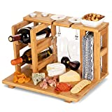 wine and cheese accessories - Bamboo Wine and Cheese Display Board with Wine Caddy, Holds 2 Wine Bottles and Glasses - Wooden Charcuterie Serving Platter Set - Portable Appetizer Boards for Picnics, Outdoors, Parties