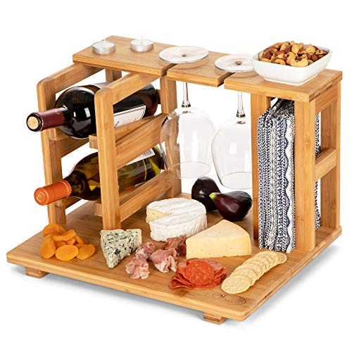 Bamboo Wine and Cheese Display Board with Wine Caddy, Holds 2 Wine Bottles and Glasses - Wooden Charcuterie Serving Platter Set - Portable Appetizer Boards for Picnics, Outdoors, Parties
