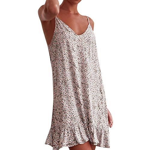 Dressin Swing Dress Spaghetti Strap Deep V Tank Tops Dress Ruffle Hem Dot Print Boho Beach Dress Sleep Dress White -