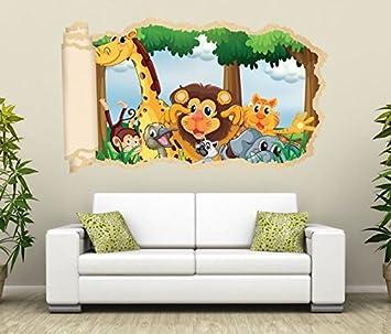 3d Wandtattoo Tiere Kinderzimmer Lowe Giraffe Affe Tapete Wand