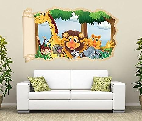 3D Wandtattoo Tiere Kinderzimmer Löwe Giraffe Affe Tapete Wand Aufkleber  Wanddurchbruch Deko Wandbild Wandsticker 11N1733, Wandbild Größe F:ca. ...