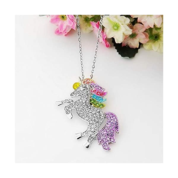 Mcgreen Crystal Unicorn Pendant Necklace Little Princess Rainbow Animal Necklace Gift for Girl Ladies 8