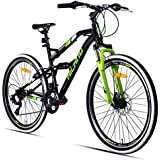 Hiland 24 26 Inch Mountain Bike with Suspension Fork/Disc Brake,21 Speeds Shimano Drivetrain, Free Kickstand Included,Black&White Color