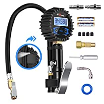 [Upgraded Version]Digital Tire Pressure Gauge, Higoing Tire Pressure Monitoring System (0-200Psi/0-14Bar) Air Chuck and Compressor Accessories, Wheel Alignment & Balancing Tools 12 In 1 Set Car Tire Chucks for SUV, ATV