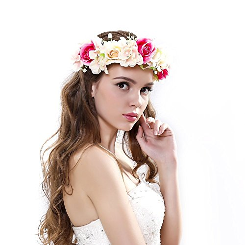 handmade Rose Flower Wreath Crown Halo for Wedding Festivals (Big Flower)