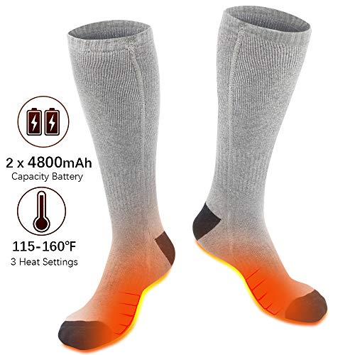 XBUTY Heated Socks for Men/Women - Upgraded Rechargeable Electric Socks with 4800mAh Large Capacity Battery- Up to 16 Hours of Heat, Upgraded Heating Element up to 160℉, 3 Heat Settings, Grey