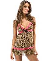 Wild Kat - Animal Print Babydoll Lingerie By Forplay Brown O/S