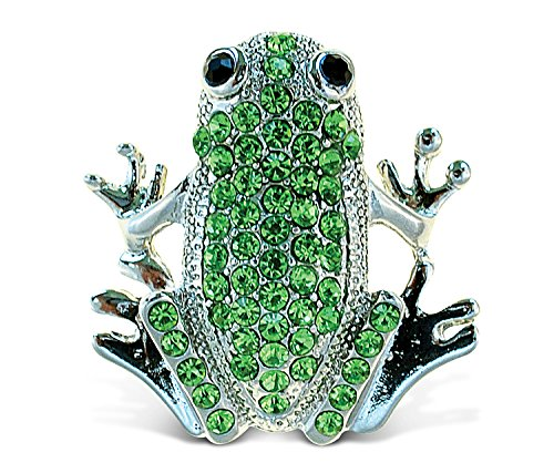 - Puzzled Frog Sparkling Magnets w/Green Crystals for Refrigerators/Any Metal Surface Jewel-Like Decorative Animal Theme Strong Novelty Magnet Interior Charm Unique Gift/Souvenir - Size: 1.75