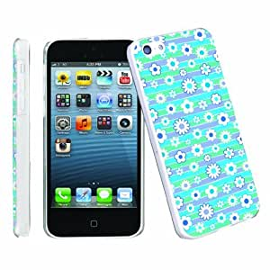 [ArmorXtreme] Apple iphone 5C Lite UltraSlim Smooth Clear Cover Phone Case [Flower Stripe Blue]