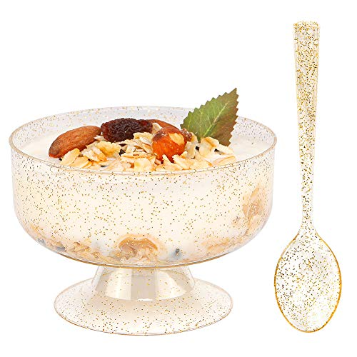 WDF 48pack 7oz Gold Glitter Medium Large Plastic Dessert Cups With Spoons-48 Disposable Ice Cream Plastic Cups & 48 Gold Glitter Tasting Spoons